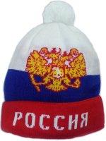 Шапочка вязаная символика Россия, с помпоном, теплая